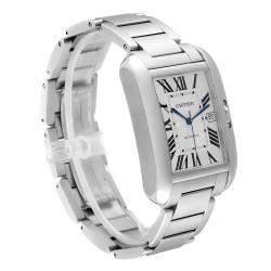 Cartier Silver Stainless Steel Tank Anglaise XL W5310008 Men's Wristwatch 47x36 MM