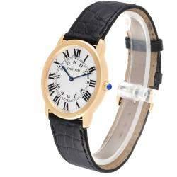 Cartier Silver 18K Yellow Gold Ronde Solo W6700455 Men's Wristwatch 36 MM