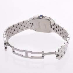 ساعة يد رجالية كارتييه سانتوس ديموزيل  LM W25065Z5 ستانلس ستيل بيضاء 26مم