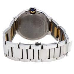 Cartier Silver Stainless Steel and 18K Yellow Gold Diamond Ballon Bleu 3001 Men's Wristwatch 42 mm