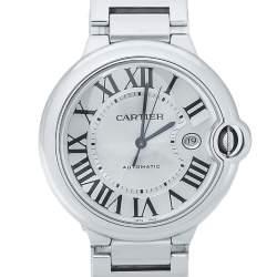 Cartier Silver Stainless Steel Ballon Bleu 3765 Men's Wristwatch 42MM