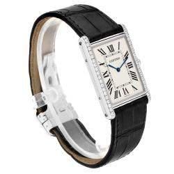 Cartier Silver Diamonds 18K White Gold Tank Louis XL WT200006 Men's Wristwatch 40 x 35 MM
