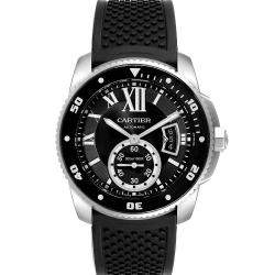 Cartier Black Stainless Steel Calibre Diver W7100056 Men's Wristwatch 42 MM