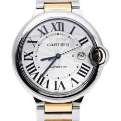Cartier Silver 18K Yellow Gold Stainless Steel Ballon Bleu W2BB0022 Men's Wristwatch 42 mm