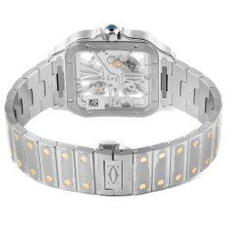 Cartier Silver 18K Yellow Gold And Stainless Steel Skeleton Horloge Santos WHSA0019 Men's Wristwatch 40 x 40 MM