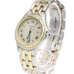 Cartier Silver 18K Yellow Gold And Stainless Steel Panthere Cougar Quartz 187904 Men's Wristwatch 33 MM