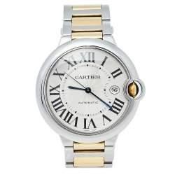 Cartier Silver 18K Yellow Gold And Stainless Steel Ballon Bleu 3001 Automatic Men's Wristwatch 42 mm