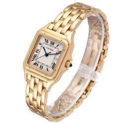 Cartier Silver 18K Yellow Gold Panthere W25014B9 Men's Wristwatch 29 x 29 MM