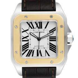 Cartier Silver 18K Yellow Gold And Stainless Steel Santos 100 W20072X7 Men's Wristwatch 51 x 41 MM