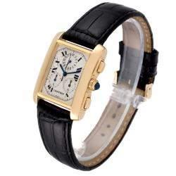 Cartier Silver 18K Yellow Gold Tank Francaise Chronoflex W5000556 Men's Wristwatch 36 x 28 MM