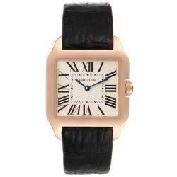 Cartier Silver 18k Rose Gold Santos Dumont W20095Y1 Men's Wristwatch 38.5 MM