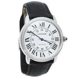 Cartier Silver Stainless Steel Leather Ronde Solo De Cartier 3802 Men's Wristwatch 42 mm