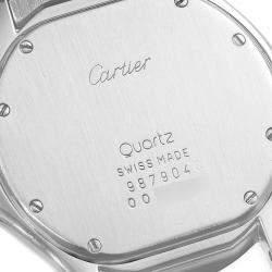 Cartier Silver Stainless Steel Santos Ronde W20027K1 Men's Wristwatch 33 MM