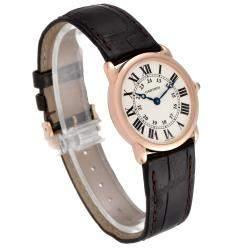 Cartier Silver 18K Rose Gold Ronde Louis W6800151 Men's Wristwatch 29 MM