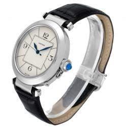 Cartier Silver Stainless Steel Pasha W3107255 Men's Wristwatch 42 MM