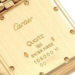 Cartier Silver 18K Yellow Gold Panthere W25014B9 Men's Wristwatch 29 x 29 MM