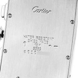 Cartier Silver Diamonds 18k White Gold Tank Americaine Chronograph 2339 Men's Wristwatch 26 x 45 MM