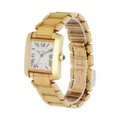 Cartier Silver 18K Yellow Gold Tank Francaise 1840 Men's Wristwatch 28 MM