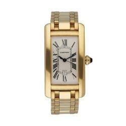 Cartier Silver 18K Yellow Gold Tank Americaine W26035K2 Men's Wristwatch 23 MM