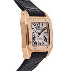 Cartier Silver 18k Rose Gold Santos 100 W20108Y1 Men's Wristwatch 44 x 36 MM