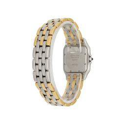 Cartier Silver 18K Yellow Gold And Stainelss Steel Panthere Men's Wristwatch 27 MM