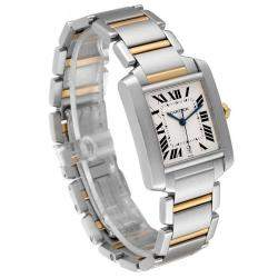 Cartier Silver 18K Yellow Gold And Stainless Steel Tank Francaise W51005Q4 Men's Wristwatch 28 x 32 MM