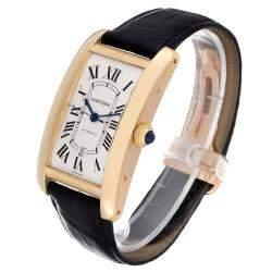 Cartier Silver 18K Yellow Gold Tank Americaine Automatic W2609756 Men's Wristwatch 32 x 42 MM