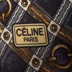 Celine Vintage Grey and Gold Equestrian Print Silk Tie