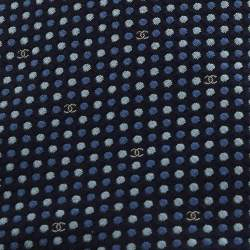 Chanel Blue Dotted Silk CC Tie