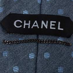 Chanel Light Grey Silk Jacquard Tie