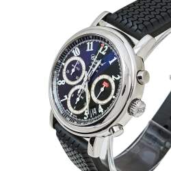 Chopard Black Stainless Steel Rubber Mille Miglia 8331 Men's Wristwatch 39 mm