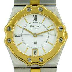 Chopard Silver 18K Yellow Gold And Stainless Steel St Moritz Men's Wristwatch 30 MM