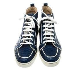 Christian Louboutin Blue Python Leather Rantus Orlato High Top Sneakers Size 40