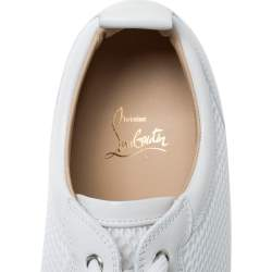 Christian Louboutin White Mesh Fabric and Leather Louis Junior Spikes Low Top Sneakers Size 43.5