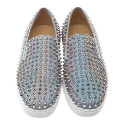 Christian Louboutin Metallic Silver Leather Roller Boat Spiked Slip On Sneakers Size 40