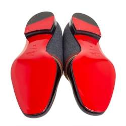 Christian Louboutin Multicolor Patent Leather And Wool Officer Smoking Slippers Size 44
