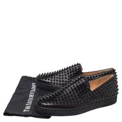 Christian Louboutin Black Leather Roller Boat Spike Slip On Sneakers Size 44.5