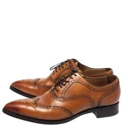Christian Louboutin Tan Leather Brogue Fiori Lace Up Oxfords Size 42.5