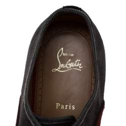 Christian Louboutin Blue/Black Suede Leather And Fabric Alpha Male Oxfords Size 43