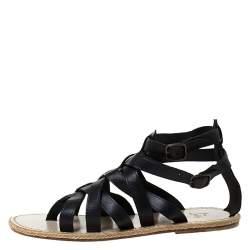 Christian Louboutin Black Leather Nuria Gladiator Flat Sandals Size 41