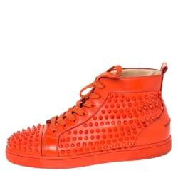 Christian Louboutin Orange Spike Leather Louis High Top Sneakers Size 43