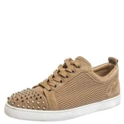 Christian Louboutin Beige Suede And Mesh Louis Junior Spikes Sneakers Size 43