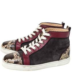Christian Louboutin Multicolor Suede, Leather And Python Louis Orlato Lace Up Sneakers Size 43
