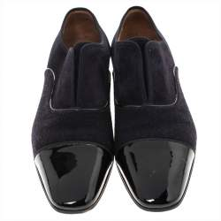 Christian Louboutin Two Tone Suede and Felt Alpha Male Slip On Oxford Loafers Size 43