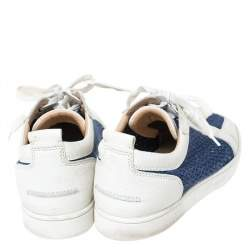 Christian Louboutin White/Blue Leather And Knit Fabric AC Rantulow Sneakers Size 43