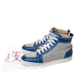 Christian Louboutin Blue/White Leather And Canvas Rantus Orlato High Top Sneakers Size 43