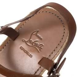 Christian Louboutin Tan Leather Toe Ring Flat Sandals Size 40