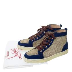 Christian Louboutin Blue/Gold Suede And Glitter Orlato High Top Sneakers Size 40