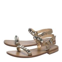 Christian Louboutin Beige Leather Studded Ankle Strap Flat Sandals Size 40
