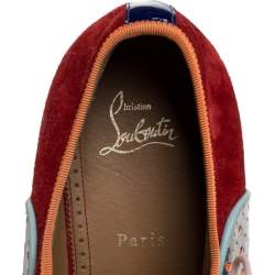 Christian Louboutin Multicolor Suede And Patent Leather Spike Toe Latcho Lace Up Oxfords Size 45